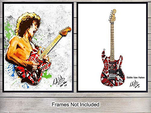 Eddie Van Halen and Guitar Wall Art Print Posters - Unique Home Decor for Man Cave, Game or Rec Room - Inexpensive Gift for 80