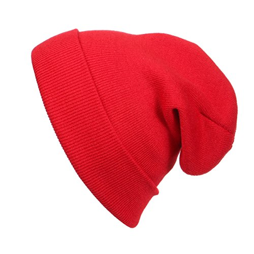 Cap911 Unisex Plain 12 inch long Beanie - Many Colors (One Size, Fire Red) -