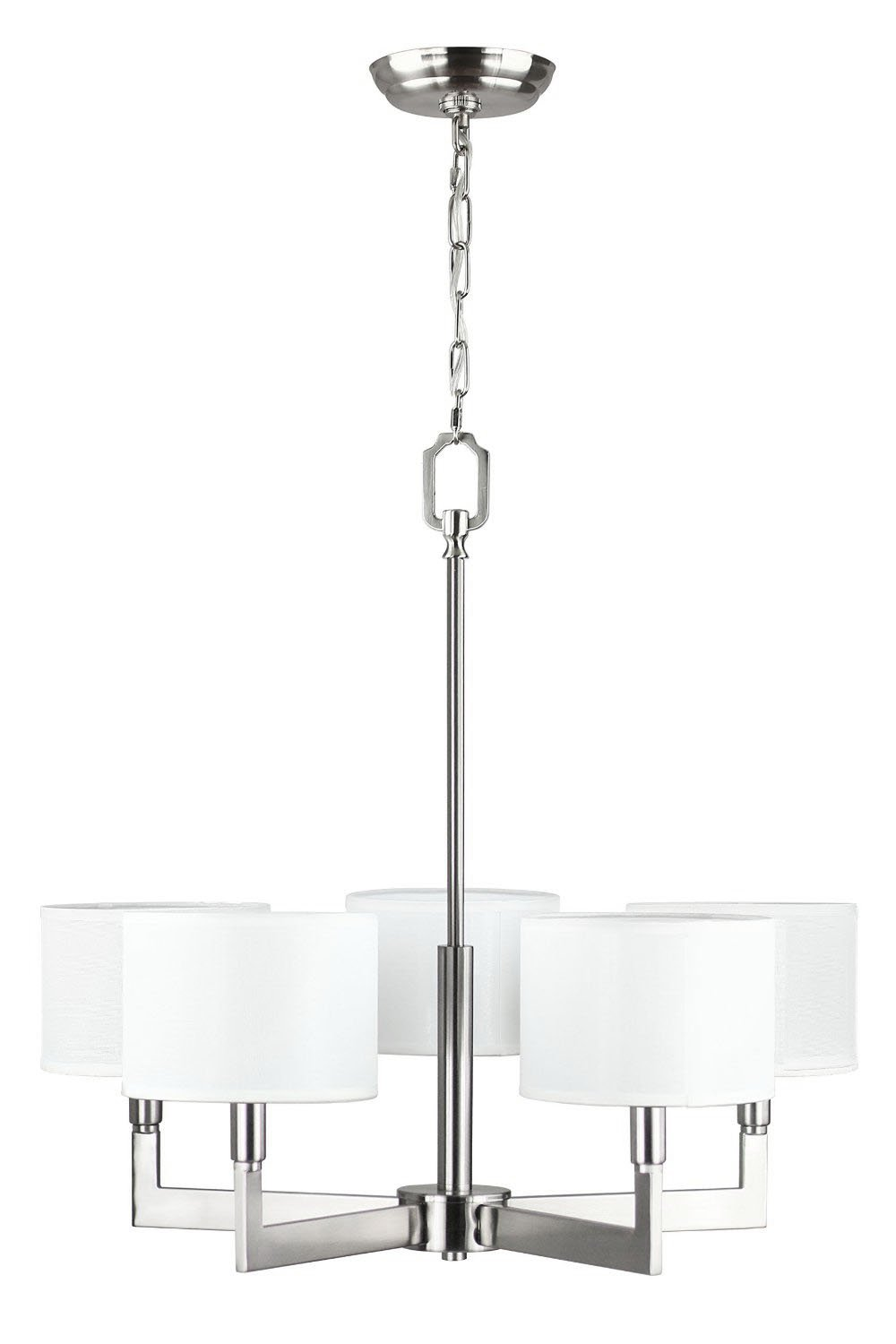Allegro 5 Light Pendant Chandelier – Brushed Nickel w/ Fabric Shade - Linea di Liara LL-C135-BN by Linea di Liara