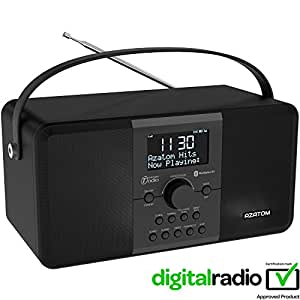 AZATOM Multiplex DAB Radio FM digital Batería Bluetooth Despertador - Bluetooth - Sistema de altavoz estéreo - Alarma doble - Radio reloj - Batería recargable - Carga USB - Sonido estéreo premium (Cenizas negro)