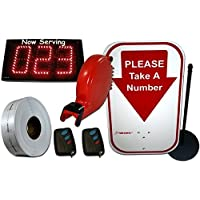 3-Digit Wireless Take-A-Number System with Floor Stand Dispenser