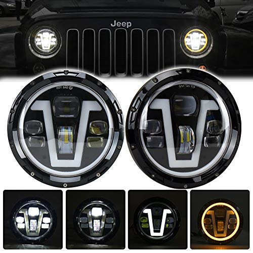MOVOTOR Jeep Wrangler Headlights Halo 7 inch LED with for sale  Delivered anywhere in Canada
