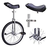 18'' Inches Wheel Uni-Cycle Skid Proof Tread Pattern Unicycle Bike Cycling - Chrome