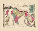 Old Asia Map - Hindostan or British India - Johnson 1860 - 23 x 27.69 - Glossy Satin Paper