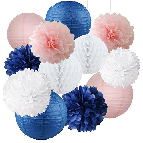 12pcs Mixed Navy Blue Pink White Party Tissue Pom Poms Hanging Paper Lantern Honeycomb Balls Nautical Themed Vintage Wedding Birthday Girl Baby Shower Nursery Decoration (Nautical Wedding Centerpiece)
