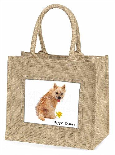 Advanta Cairn Terrier Happy Ostern Große Einkaufstasche/Weihnachten Geschenk, Jute, beige/natur, 42x 34,5x 2cm