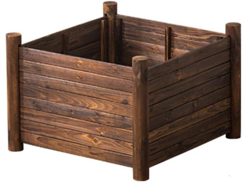 プランター 植栽ボックススクエアガーデンベッドキットガーデニング植栽コンテナ排水穴付き、組み立てが簡単 (Color : Natural, Size : 67X67X43CM)