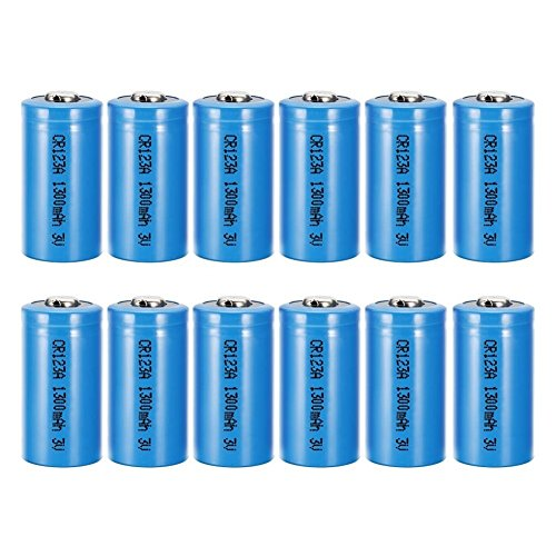 Bingogous CR123A 3V 1300mAh Lithium Battery with PTC Protection Leak Resistant Long Lasting Non-Rechargeable CR123 Batteries (12-Pack)