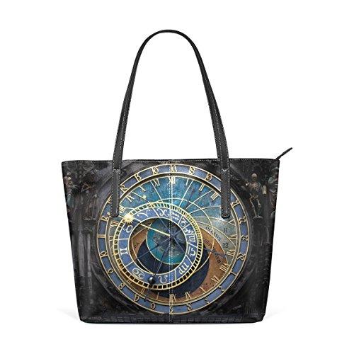 LORVIES The Prague Astronomical Clock PU Leather Shoulder bag Purse and handbags Tote Bag for women (Prague Leather Handbag)