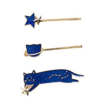 Amazon.com: Gato & Starry Sky Clip de pelo lazo, dulce y ...