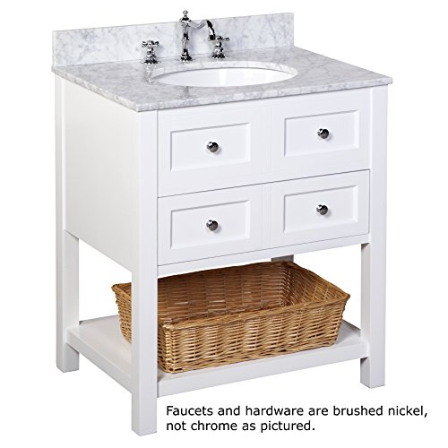 Kitchen Bath Collection KBC11530WTCARR New Yorker Bathroom Vanity with Marble Countertop, Cabinet with Soft Close Function and Undermount Ceramic Sink, Carrara/White, 30