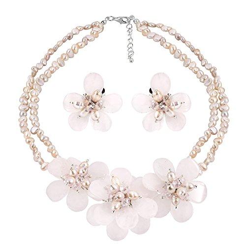 AeraVida Elegant Pink Glass and Cultured Freshwater Pearl Flower Jewelry Set