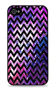 Galaxy Space Chevron Stripes Black Hardshell Case for iPhone 4 / 4S