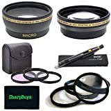 67mm Multi Coated 3 Piece Digital Filter Kit (UV-CPL-FLD) + Close-Up Macro Filter Set +1 +2 +4 +10 + 0.43x Professional HD Auto Focus Wide Angle Lens with Macro & Pro Series 2.2x High Definition AF Telephoto Lens + Lens Cleaning Pen + Sharpbuys Microfiber