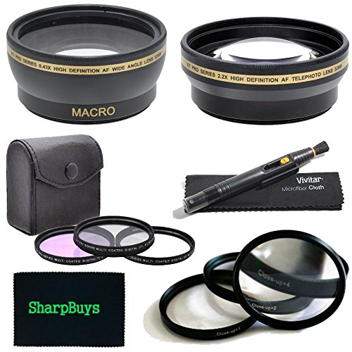67mm Multi Coated 3 Piece Digital Filter Kit (UV-CPL-FLD) + Close-Up Macro Filter Set +1 +2 +4 +10 + 0.43x Professional HD Auto Focus Wide Angle Lens with Macro & Pro Series 2.2x High Definition AF Telephoto Lens + Lens Cleaning Pen + Sharpbuys Microfiber by SharpBuys