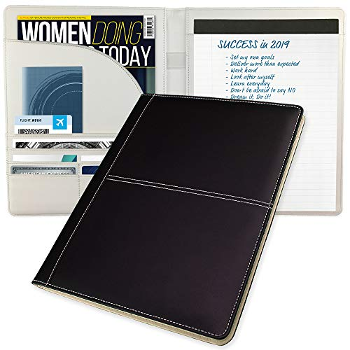 (Modern Classic Business Padfolio/Portfolio Folder for Women Doing Business Today - Perfect for Meetings & Interviews - Stylish Duo Tone Professional Notepad Holder/Resume Folder Portfolio Organizer)