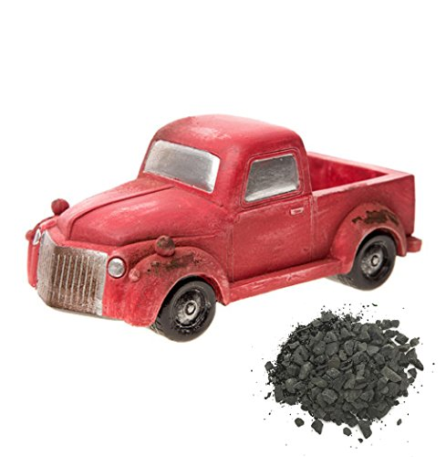 "Fairy Garden Mini Old-Fashioned Red Pickup Truck with Small Load of ""Crushed Gravel"""