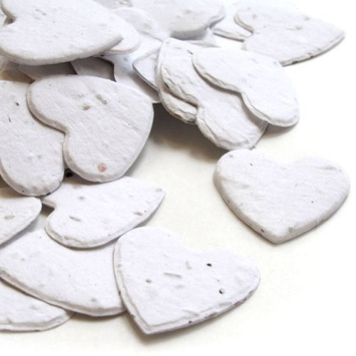 Heart Shaped Plantable Seed Confetti in White 4-Pack (four 350 piece bags = 1400 pieces of seed confetti)