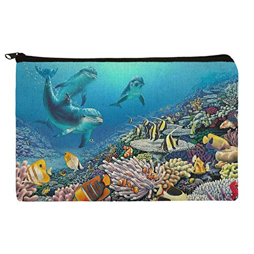 Ocean Underwater Dolphins Scuba Diving Reef Makeup Cosmetic Bag Organizer Pouch