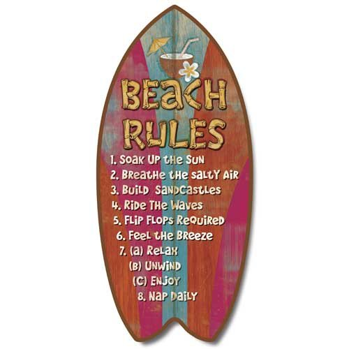 Weathered Tropical Beach Rules Mini Surfboard Plaque Home Décor Accent 11
