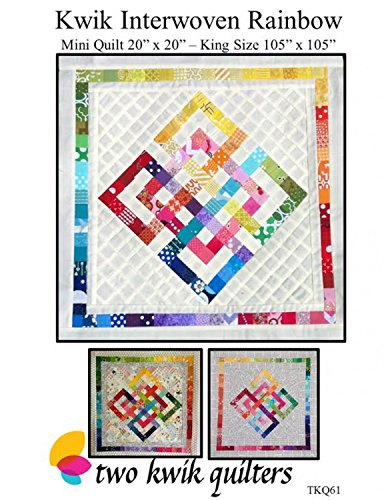 Kwik Interwoven Rainbow Quilt Pattern, Stash Buster Scrap Scrappy Happy, 2 Finished Sizes 20