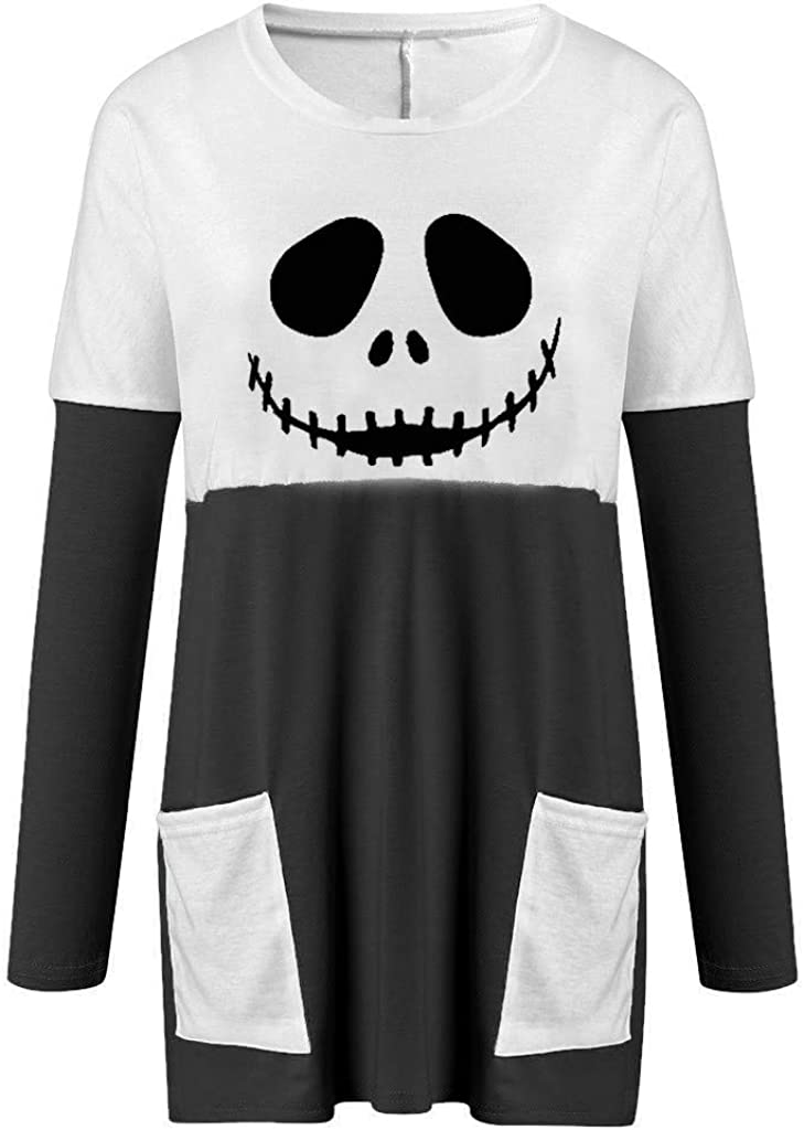 Rookieman Womens Casual Pullover Tunic Tops Halloween Ghost Long Sleeves Blouse Shirt