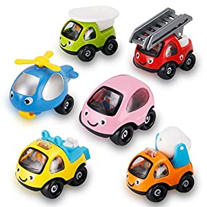 Best Epic Trends 51tjzDm8KEL._SS300_ 6 Pack Cartoon Construction Toy Cars, Trucks and Construction Rescue Vehicles Play Set | Push and Go Toys for Babies…