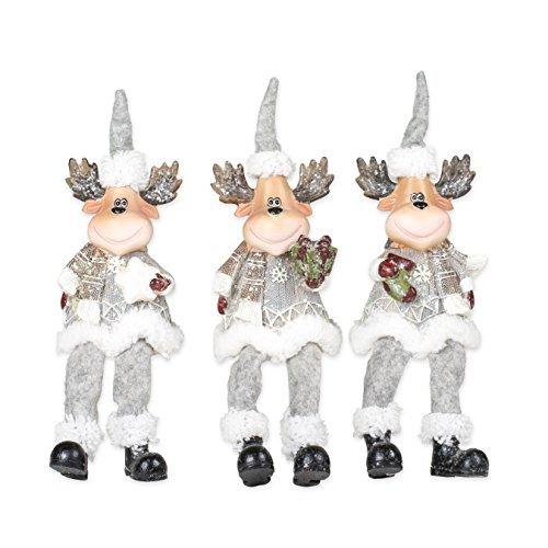 Grey Nordic Moose Friends 10 x 3 Plush Christmas Shelf Sitter Figurines Set of 3