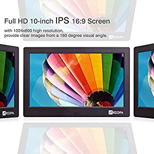 Wireless Digital Picture Photo Frame - HD 1024x768 (16:9) IPS Widescreen MP3 MP4 Video Player with Calendar/Clock/Remote Control Black (10 inch)