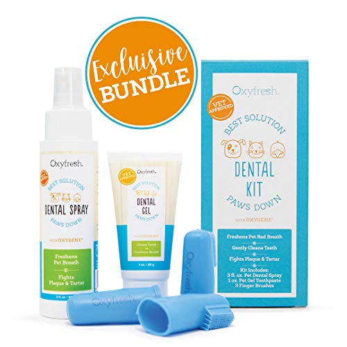 Premium Pet Dental Kit from Oxyfresh: Best Bad Breath Treatment for Dogs & Cats - Easy Safe & Effective Solution - Travel Size - Unflavored Pet Toothpaste, Pet Fingerbrush, and Pet Dental Spray