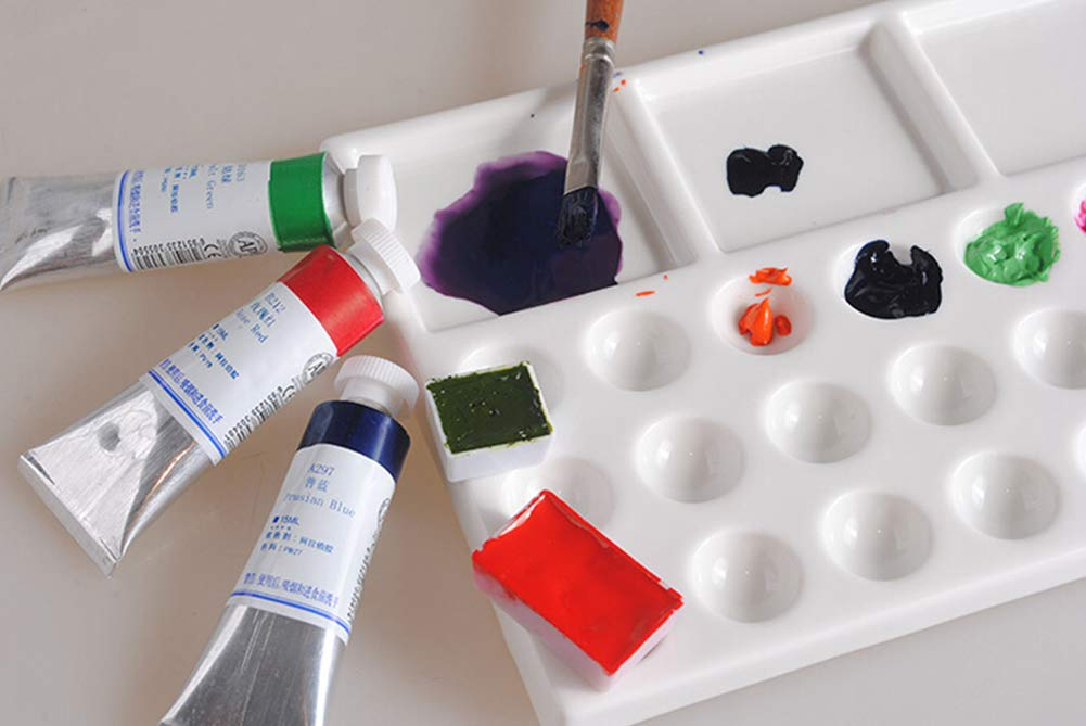 Liitrton 24 Wells Ceramic Paint Palette Trays Ceramic Rectangular Watercolor Gouache Oil Painting Mixing Tray for Artist and Student