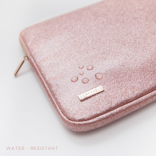 Comfyable Laptop Sleeve for MacBook Pro 13-13.3 Inch & Mac Air 13-13.3'', Notebook Computer Case w/Pocket- Waterproof & Soft Cover- Rose Gold Pink Glitter by Comfyable (Image #2)
