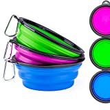 Collapsible Large Size Pet Bowl(7 inch Diameter,34 oz),IDEGG Food Grade Silicone BPA Free,Foldable Expandable Cup Dish for Pet Raised Dog/Cat Food Water Feeding Bow(Large-Set of 3, Purple+Green+Blue)