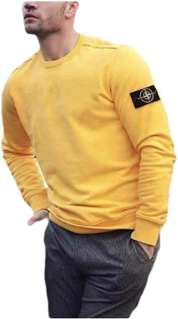 HEFASDM Mens Round Neck Long Sleeve Solid Pullover Top Sweatshirt