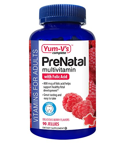 YUM-V's Complete Prenatal Daily Multi-Vitamin Jellies (Gummies) w/ Folic Acid, Berry Flavor (90 count), Chewable Pregnancy Vitamins for Women; Gluten Free, Kosher, Halal, Low Sugar Dietary Supplement