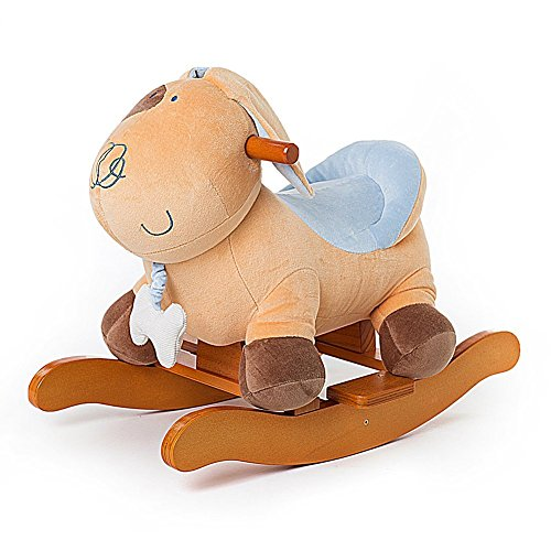Rocking Toys For Boys : Labebe baby wooden rocking horse yellow puppy dog boys
