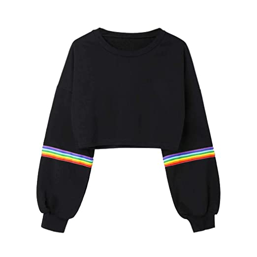 5f7c4f7981f Oksale Womens Long Sleeve Striped Crop Short Sweatshirt Jumper Black  Pullover Top (Black, S
