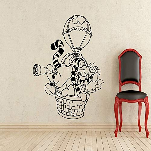 Winnie The Pooh Wall Decal Hot Air Balloon Vinyl Decal Nursery Kids Room Home Decoration Waterproof Removable Wall Stickers