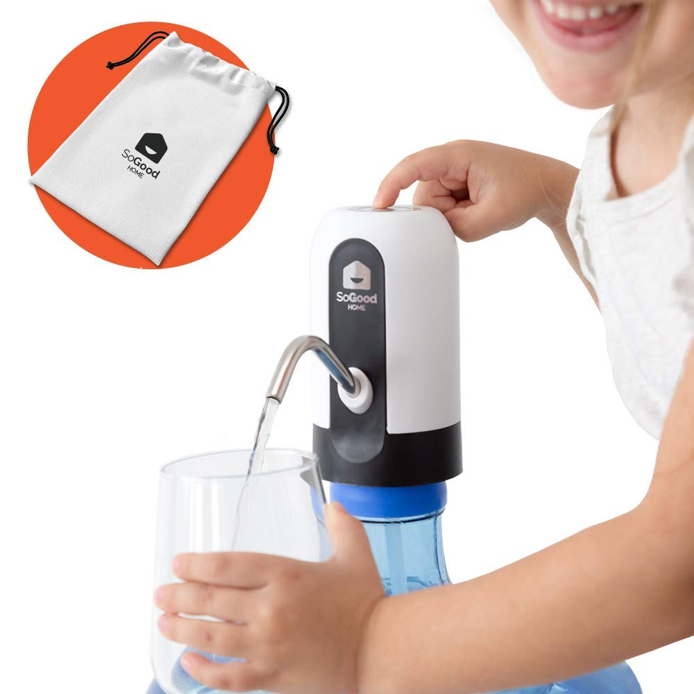 Water Bottle Pump by SoGood Home, with exclusive carrying pouch - Portable, USB Charging - Electric Drinking Water dispenser for 5 gallon - Ideal for Outdoor Kitchen or Office