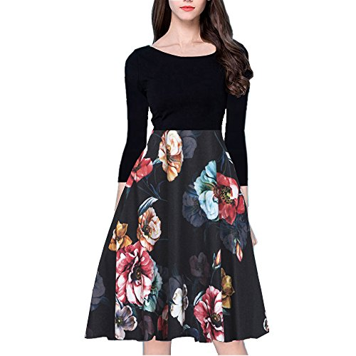 YISHIWEI Women's Long Sleeve Pocket Vintage Patchwork Flowers Casual Party Flared Midi Dress (Large, (Classic Womens Dress)