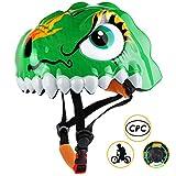 Basecamp Kids Bike Helmet CPC Certified Children Skating Riding a Scooter Helmet Boys and Girls Safe Protective Helmets Crocodile Helmet Kids Scooter Helmet (Dinosaur Green)