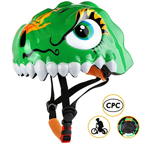 Basecamp Kids Bike Helmet CPC Certified Children Skating Riding a Scooter Helmet Boys and Girls Safe Protective Helmets Crocodile Helmet Kids Scooter Helmet (Dinosaur Green)