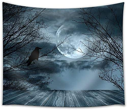 wall26 – Halloween Background with Spooky Forest and Full Moon – Fabric Wall Tapestry Home Decor – 68×80 inches