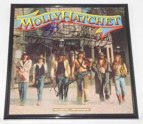 molly-hatchet-no-guts-no-glory-authentic-group-signed-autographed-lp-record-album-with-vinyl-framed-