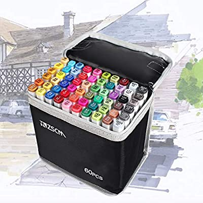 ZSCM Dual Tips Alcohol Based Markers Pens with Case Art Twin Adult Permanent Marker for Drawing, Coloring, Painting and Sketching