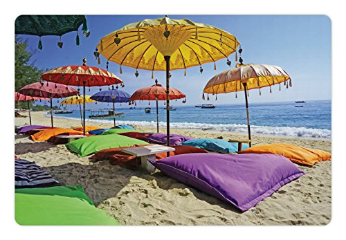- Lunarable Balinese Pet Mat for Food and Water, Pristine Beach Bathed by The Bali Sandy Seashore Daytime Umbrellas Pillows Leisure, Rectangle Non-Slip Rubber Mat for Dogs and Cats, Multicolor