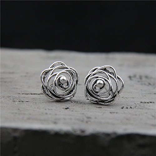 Vintage Sterling Silver Wireball Stud Earring With Gift Box Packing,S925 Silver Wire Earrings, Sterling Silver Earrings