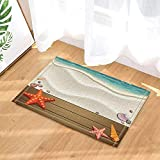 SRJ2018 Cartoon brown wooden board with red starfish and carapace on the beach Super Absorbent, Non-slip Mat or Door Mat, Soft and Comfortable