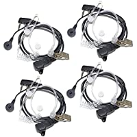 4-Pack HQRP 2 Pin Acoustic Tube Earpiece Headset Mic for Kenwood Pro-Talk, Pro-Power, Free-Talk, Protalk XLS, FreeTalk XLS + HQRP UV Meter