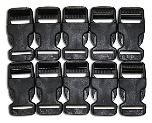 Quick Snap Buckles  Flat Side Plastic Buckles (10-Pack),  Black with Quick Release Mechanism- 1.25x2.65 Inches - Suitable for Crafts & DIY - Snap Buckle